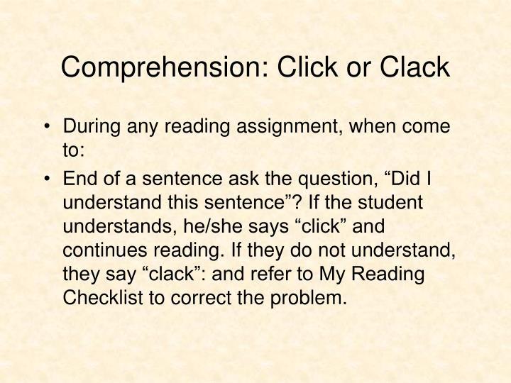 Comprehension: Click or Clack