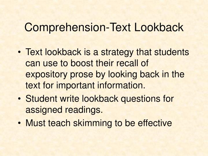Comprehension-Text Lookback