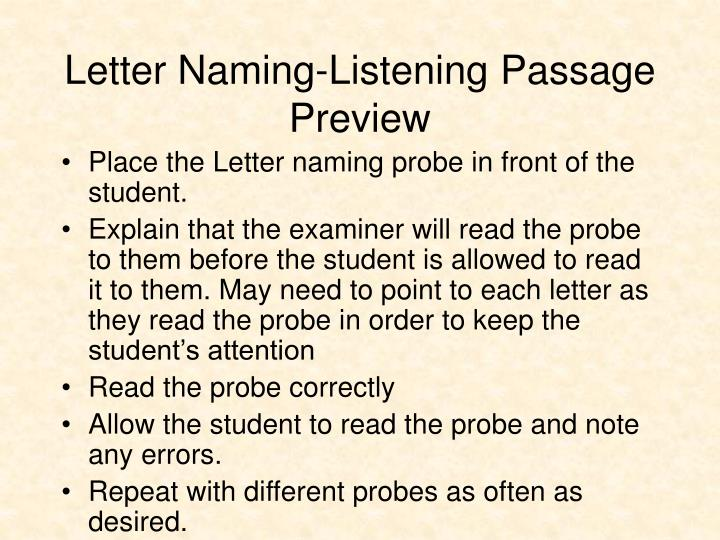 Letter Naming-Listening Passage Preview