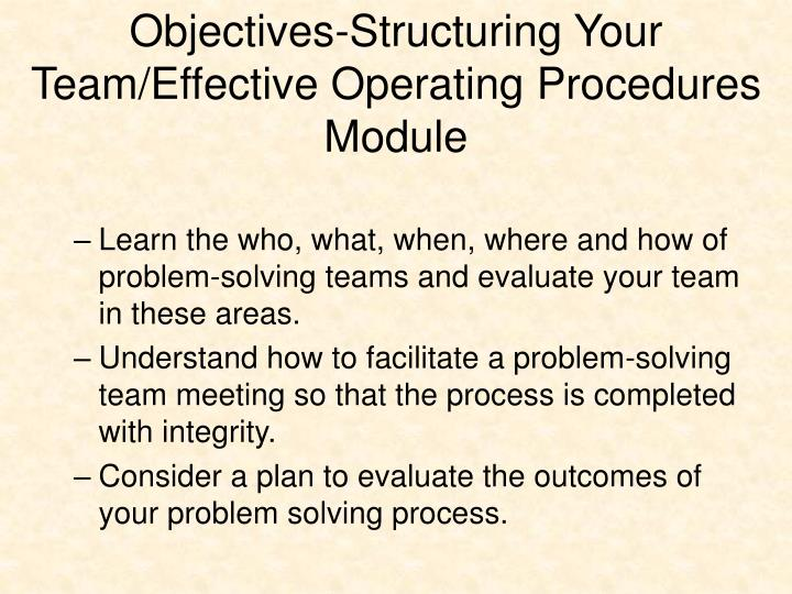 Objectives-Structuring Your Team/Effective Operating Procedures Module