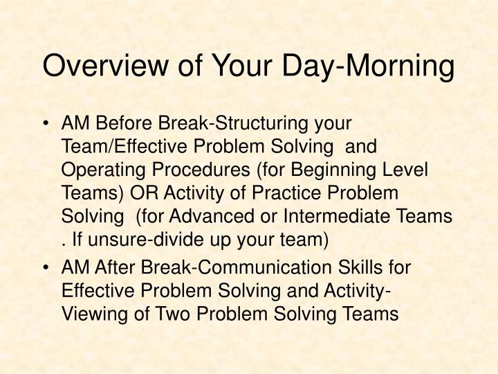 Overview of Your Day-Morning