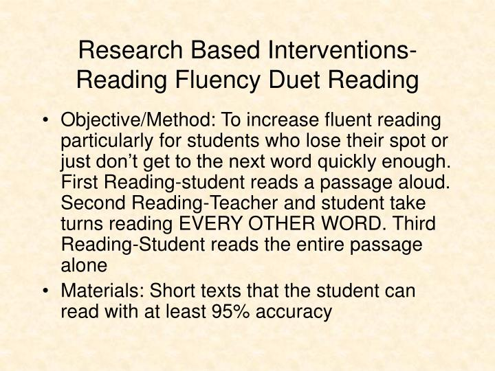 Research Based Interventions-Reading Fluency Duet Reading