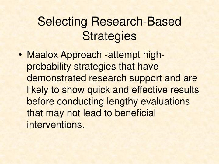 Selecting Research-Based Strategies