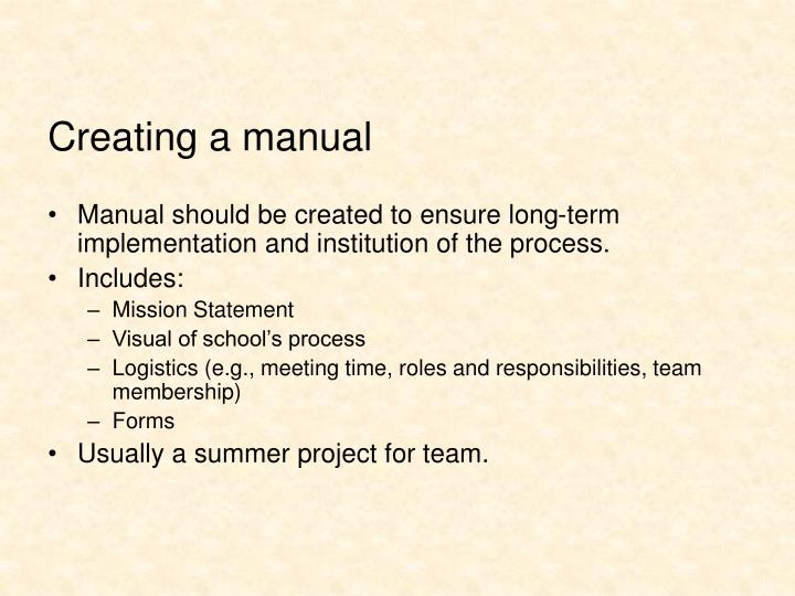 Creating a manual