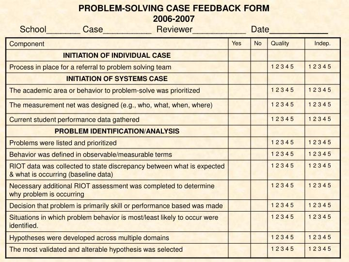 PROBLEM-SOLVING CASE FEEDBACK FORM