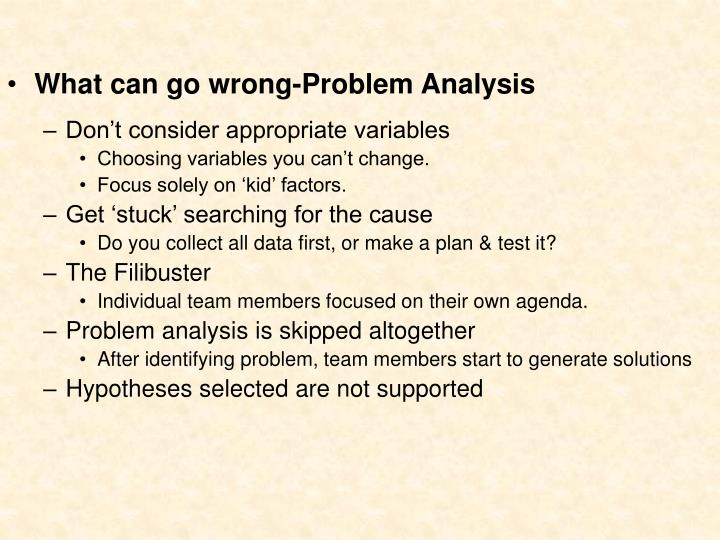What can go wrong-Problem Analysis