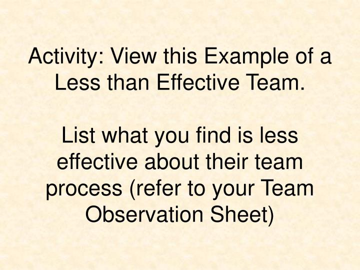 Activity: View this Example of a Less than Effective Team.