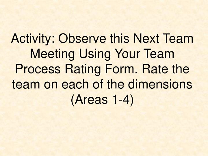 Activity: Observe this Next Team Meeting Using Your Team Process Rating Form. Rate the team on each of the dimensions (Areas 1-4)