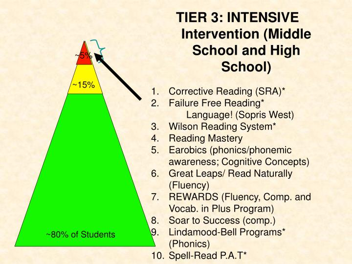 TIER 3: INTENSIVE Intervention (Middle School and High School)