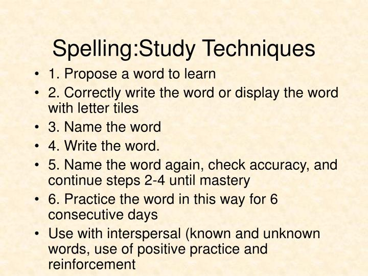 Spelling:Study Techniques
