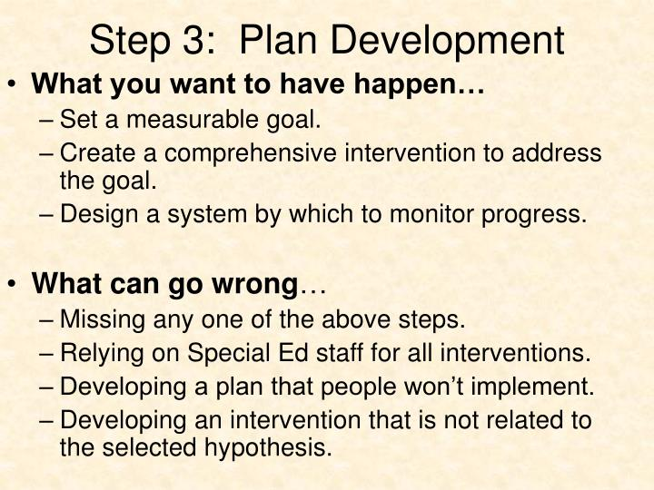 Step 3:  Plan Development