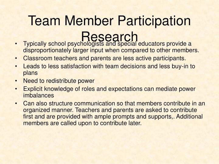 Team Member Participation Research