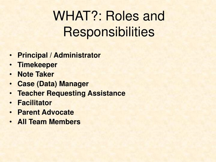 WHAT?: Roles and Responsibilities