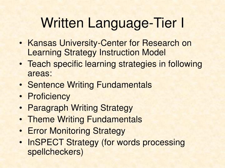 Written Language-Tier I