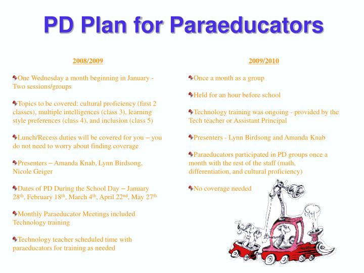 PD Plan for Paraeducators