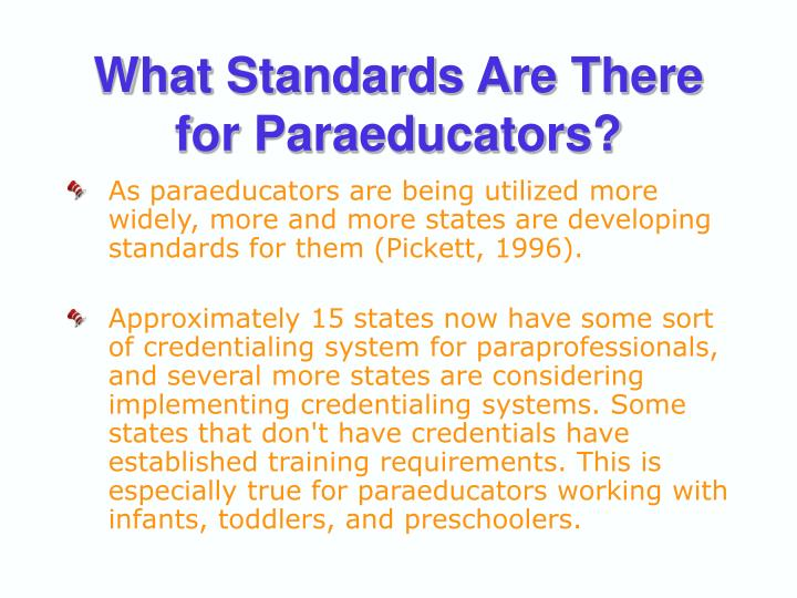 What Standards Are There for Paraeducators?