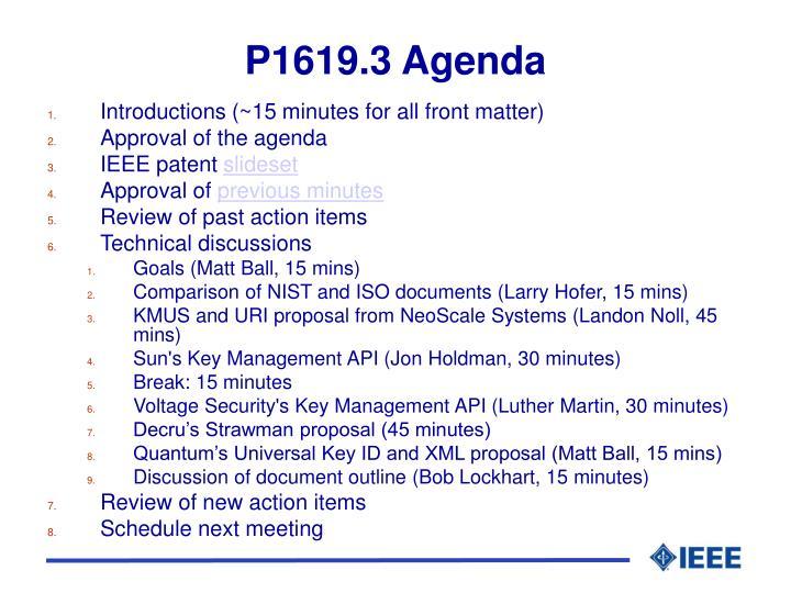 P1619.3 Agenda