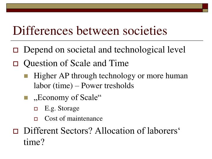 Differences between societies