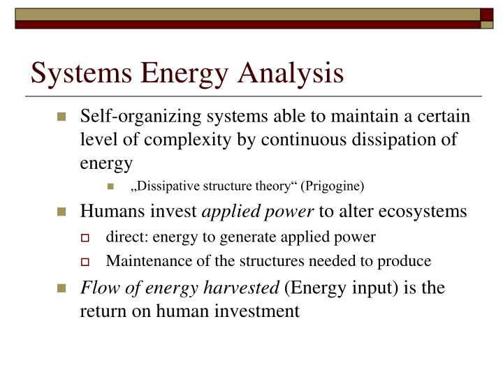 Systems Energy Analysis