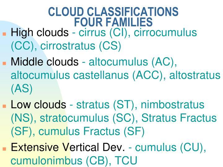 CLOUD CLASSIFICATIONS