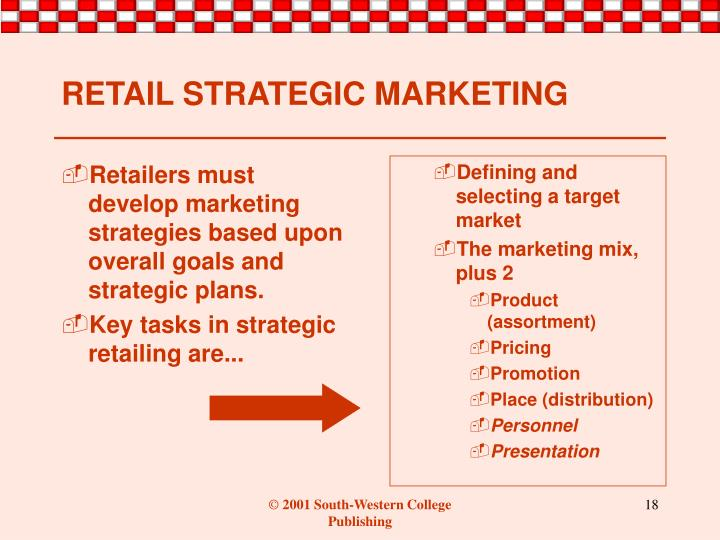 Retailers must develop marketing strategies based upon overall goals and strategic plans.