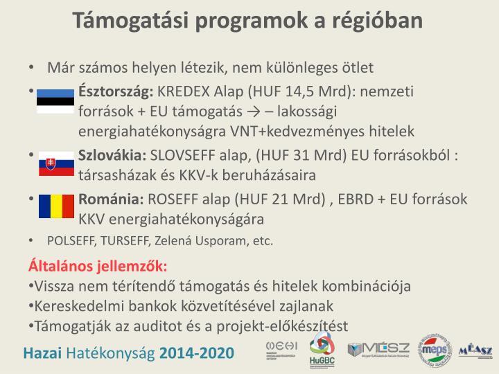 Támogatási programok a régióban