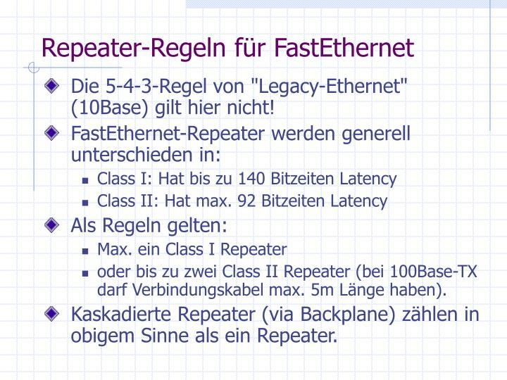 Repeater-Regeln für FastEthernet