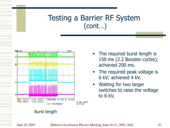 Testing a Barrier RF System