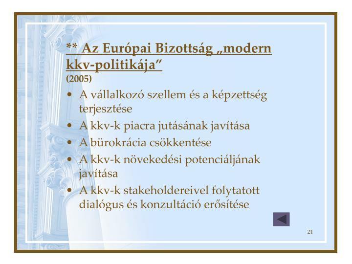 """** Az Európai Bizottság """"modern kkv-politikája"""""""