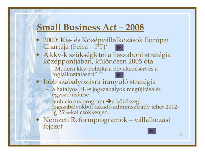 Small Business Act – 2008