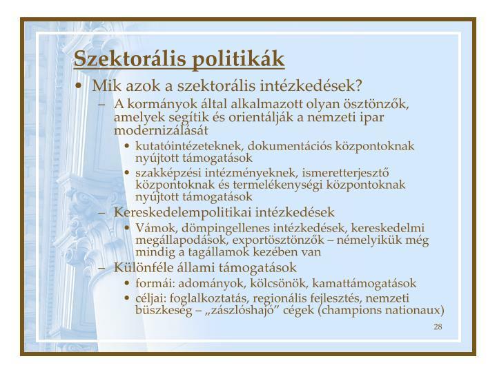 Szektorális politikák