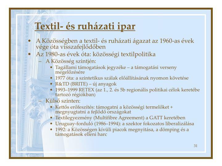 Textil- és ruházati ipar