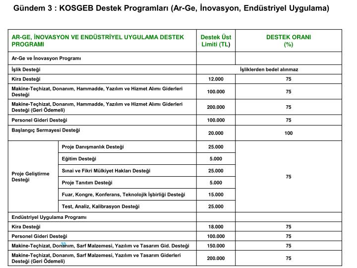Gündem 3 : KOSGEB Destek Programları (Ar-Ge, İnovasyon, Endüstriyel Uygulama)