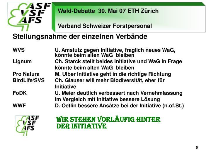 Wald-Debatte  30. Mai 07 ETH Zürich