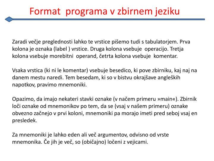 Format  programa v zbirnem jeziku