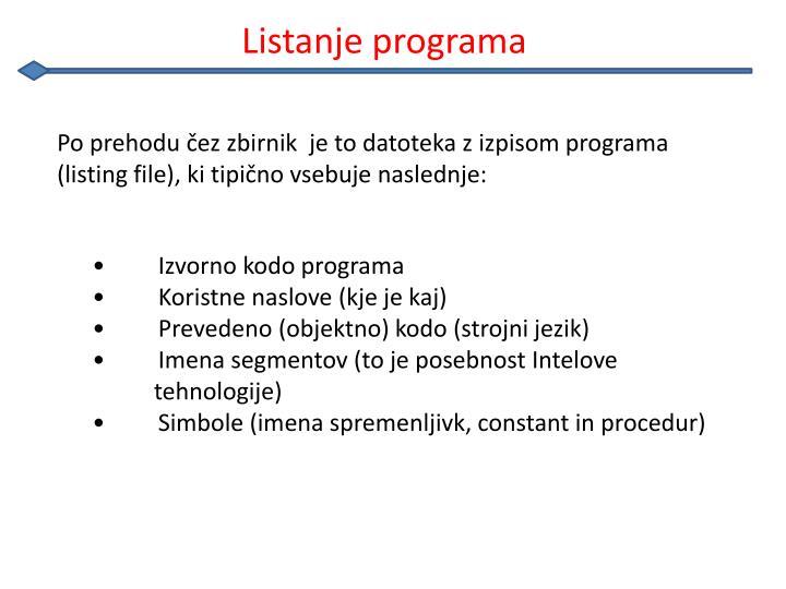 Listanje programa