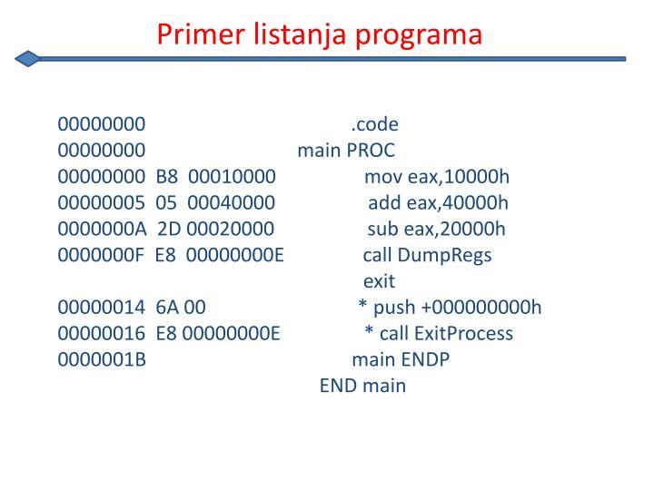 Primer listanja programa