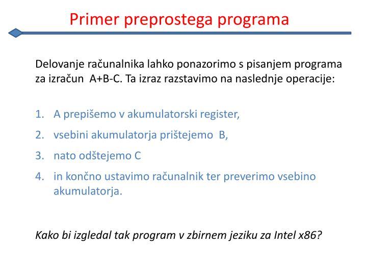 Primer preprostega programa
