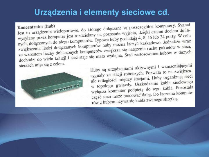 Urządzenia i elementy sieciowe cd.