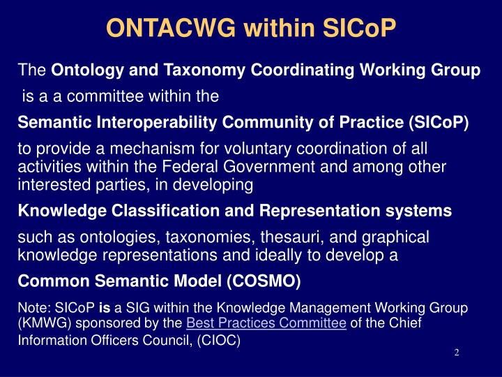 Ontacwg within sicop