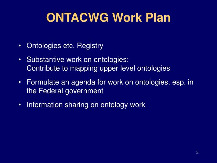 ONTACWG Work Plan