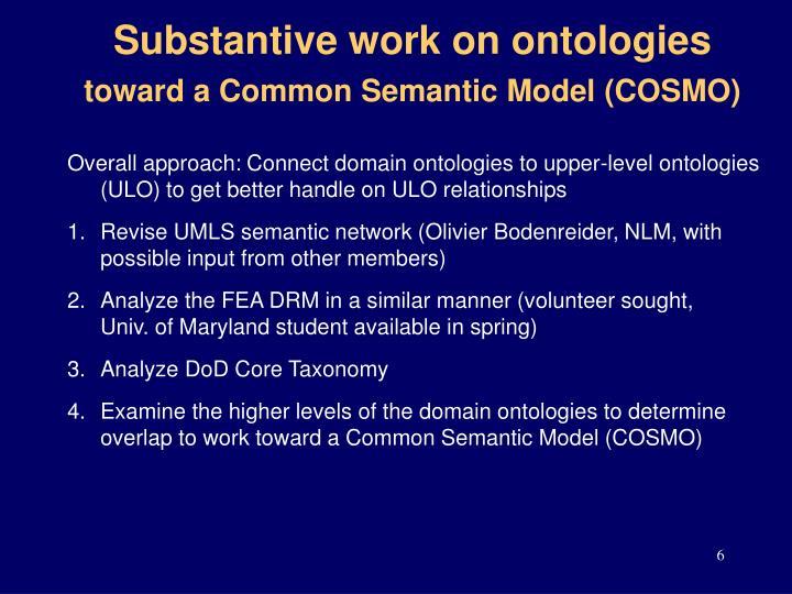 Substantive work on ontologies