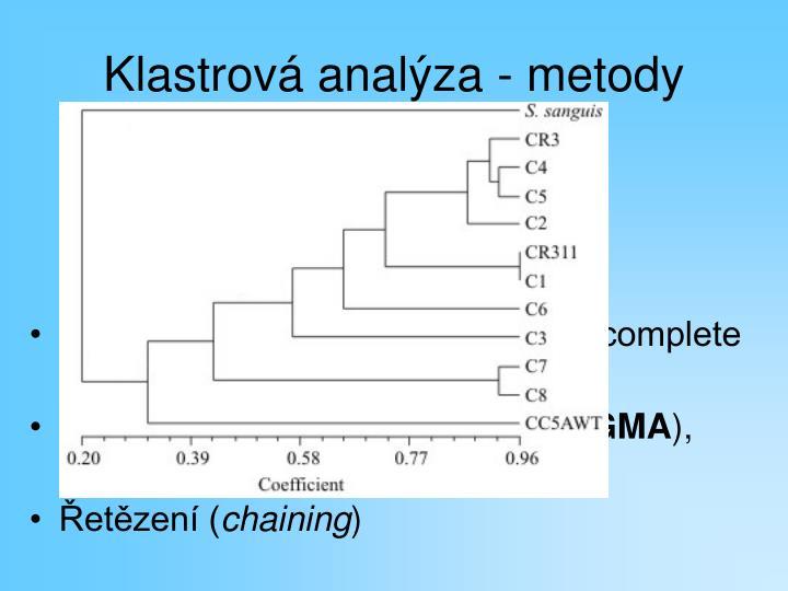 Klastrová analýza - metody