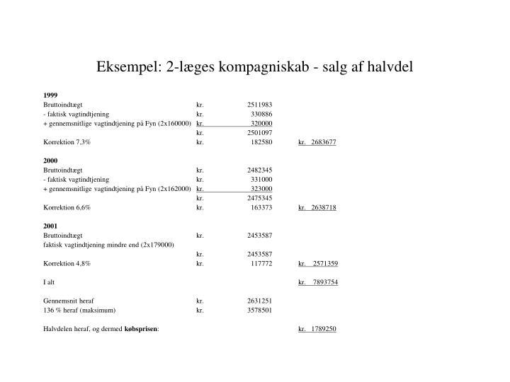 Eksempel: 2-læges kompagniskab - salg af halvdel