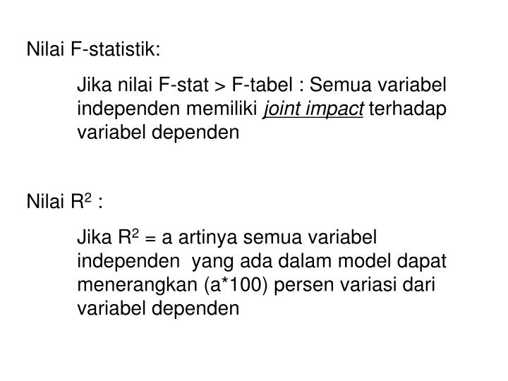 Nilai F-statistik: