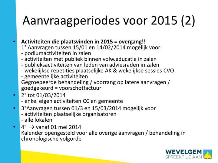 Aanvraagperiodes voor 2015 (2)