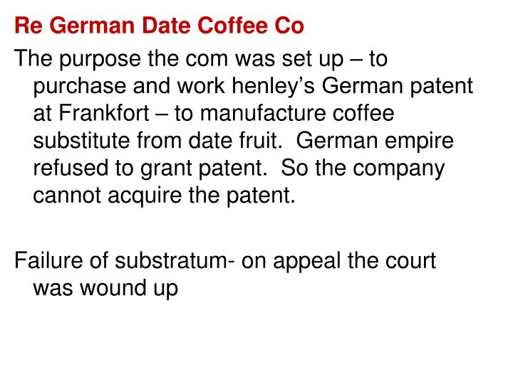 Re German Date Coffee Co