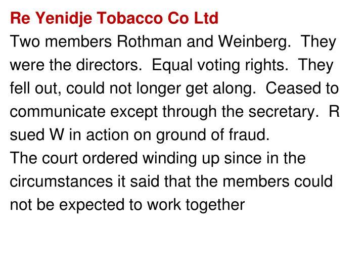 Re Yenidje Tobacco Co Ltd