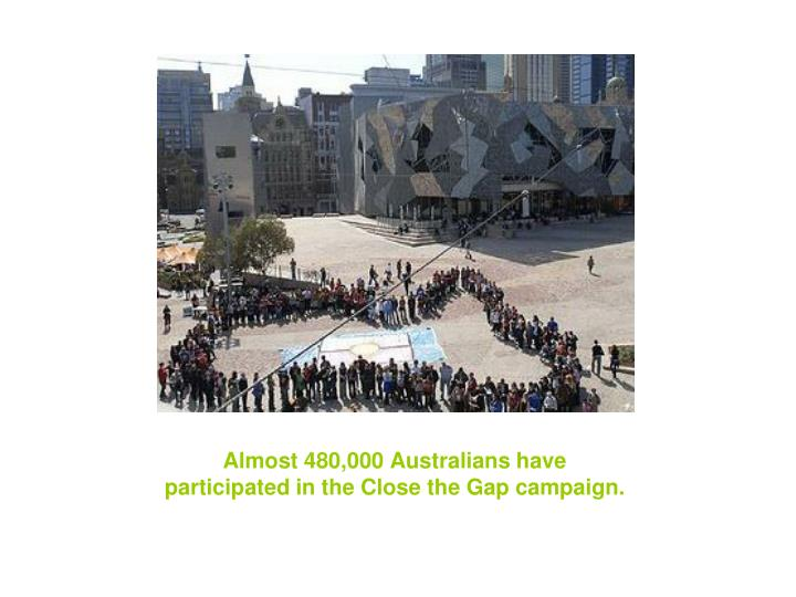 Almost 480 000 australians have participated in the close the gap campaign