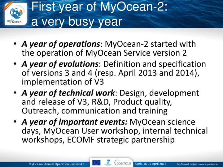 First year of MyOcean-2: